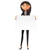 Szczęśliwa śliczna azjatykcia dziewczyna z deską Ufna młoda bizneswomanu mienia deski wycinanka Śliczna dziewczyna trzyma wielkie Fotografia Stock
