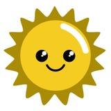 Szczęśliwa śliczna słońce pogody ikona Ilustracji