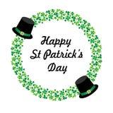 Szczęśliwa świętego Patricks dnia grafika z kapeluszami i okręgu shamrock ramą Obraz Royalty Free