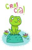 Szczęśliwa żaba na rockowej ilustraci Zdjęcia Stock