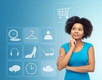 Szczęśliwa afro amerykańska młoda kobieta z menu ikonami Obraz Royalty Free