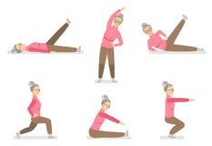 Szczęśliwa babcia robi gimnastyce w różnorodnych pozach na białym tle ilustracji