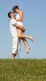 Szczęśliwa beztroska romantyczna potomstwo para fotografia royalty free