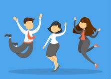 Szczęśliwa biznes drużyna w kostiumu skoku i świętuje ilustracji
