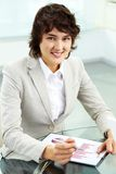 Szczęśliwa biznesowa dama obrazy royalty free