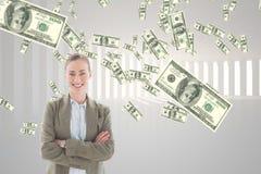Szczęśliwa biznesowa kobieta z pieniądze deszczem przeciw białemu tłu obraz stock