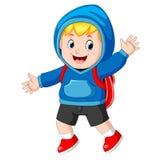 Szczęśliwa chłopiec iść szkoła ilustracji