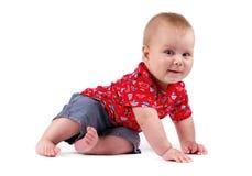 Szczęśliwa chłopiec odizolowywająca na białym tle Zdjęcia Royalty Free