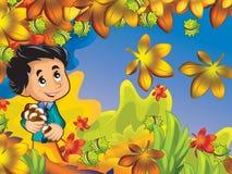 Szczęśliwa chłopiec w drewnianych zgromadzenie kasztanach i mieć zabawa w jesień lesie royalty ilustracja