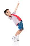 Szczęśliwa chłopiec z hełmofonami Zdjęcia Stock