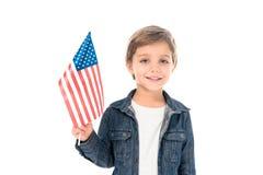 szczęśliwa chłopiec z usa flaga obrazy royalty free