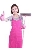 Szczęśliwa Cleaning kobiety gospodyni domowa Zdjęcie Stock