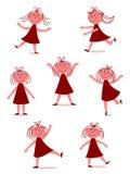 szczęśliwa dancingowa dziewczyna ilustracji
