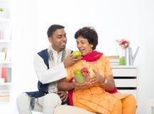 Szczęśliwa dojrzała Indiańska kobieta obrazy royalty free