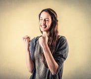 Szczęśliwa doping kobieta obrazy stock