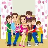 Szczęśliwa duża rodzina royalty ilustracja