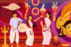 Szczęśliwa Durga Puja festiwalu tła kicza sztuka India ilustracji