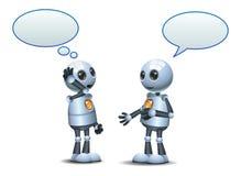 szczęśliwa dwa droid robota mała rozmowa na odosobnionym bielu royalty ilustracja