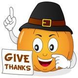 Szczęśliwa dziękczynienie bania z kapeluszem Zdjęcie Stock