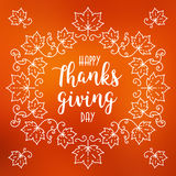 Szczęśliwa dziękczynienie dnia karta, jesień zamazywał tło, liść klonowy rama Fotografia Stock