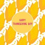 Szczęśliwa dziękczynienie dnia karta Kreskówka ucho kukurudza bezszwowy wzór Wektorowy ilustration odizolowywający na białym tle obrazy stock