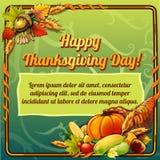 Szczęśliwa dziękczynienie dnia karta na zielonym tle ilustracja wektor