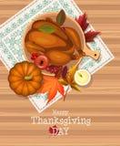 Szczęśliwa dziękczynienie dnia karta z indykiem i tablecloth z broderią ilustracja wektor