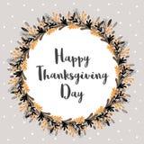 Szczęśliwa dziękczynienie dnia wektoru karta Kwiecisty Round kształta wianek ilustracja wektor