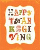 Szczęśliwa dziękczynienie karty rocznika teksta rama na pomarańczowym portrecie ilustracji