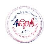 szczęśliwa dzień niezależność Lipiec 4th _ Wektor - pomnik flagi Patriotyczny świętuje Zdjęcie Stock