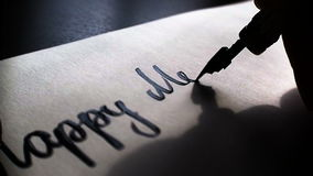 Szczęśliwa dzień pamięci kaligrafia, literowania światło słoneczne i pocztówka i Niezwykle zakończenie zbiory