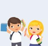 Szczęśliwa dziecko w wieku szkolnym kreskówka ilustracji