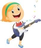 szczęśliwa dziewczyna bawić się gitarę Zdjęcie Royalty Free