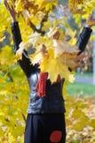 Szczęśliwa dziewczyna chuje za liśćmi klonowymi obraz stock