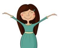 Szczęśliwa dziewczyna, ręki up Obraz Royalty Free