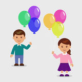 Szczęśliwa dziewczyna z balonami Fotografia Stock