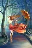 Szczęśliwa dziewczyna z parasolem w parku Zdjęcie Stock
