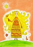 Szczęśliwa dziewczyna z ptakami, dziecko rysunek, akwarela obraz Fotografia Royalty Free