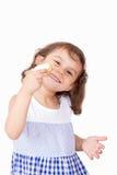 Szczęśliwa dziewczyna z uczt ciastkami Fotografia Royalty Free