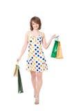Szczęśliwa dziewczyna z zakupami. Zdjęcie Royalty Free