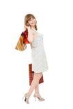 Szczęśliwa dziewczyna z zakupami. Fotografia Royalty Free