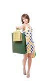 Szczęśliwa dziewczyna z zakupami. Fotografia Stock