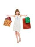 Szczęśliwa dziewczyna z zakupami. Obrazy Royalty Free