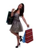 Szczęśliwa dziewczyna z zakupy paczkami Zdjęcia Royalty Free