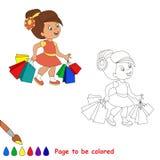 szczęśliwa dziewczyna zakupy ilustracji