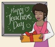 Szczęśliwa Żeńskiego nauczyciela odświętność w klasie z jej uczniami, Wektorowa ilustracja ilustracji