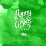 Szczęśliwa Easter akwareli inskrypcja Zdjęcia Stock