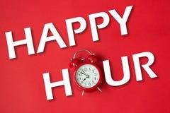 Szczęśliwa godzina z klasyka zegarem zdjęcie royalty free