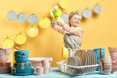 Szczęśliwa gospodyni domowa demonstruje płuczkowego proces, nowy naczynia mydło fotografia royalty free