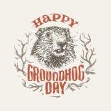 Szczęśliwa groundhog dnia ilustracja wektor Obrazy Stock